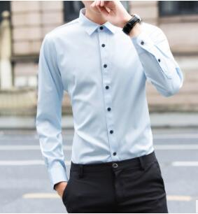 ZNG 2020 Men's Shirt Long-sleeve Shirt Overalls Slim Square Collar Solid Color Youth Undershirt 2019 Spring