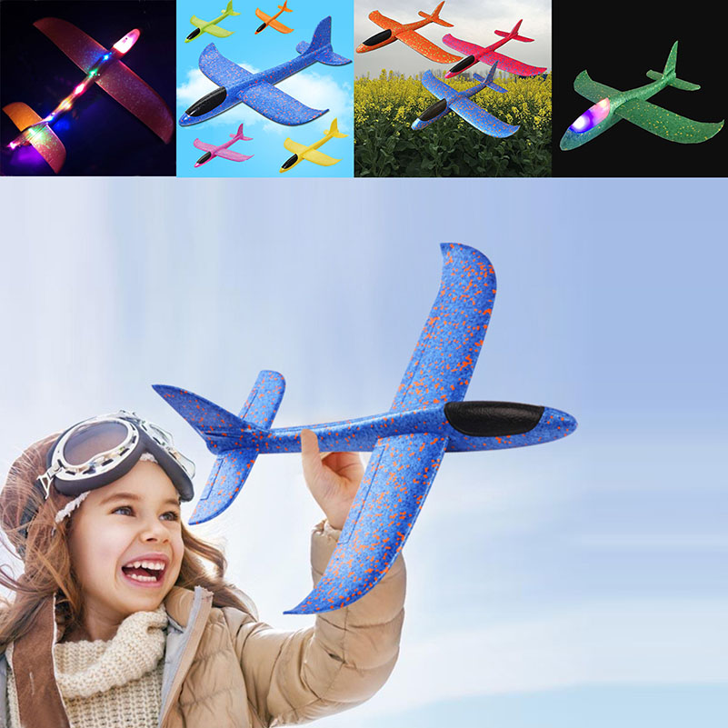 48cm EPP Foam Airplane Hand Launch Throwing Glider LED Light Aircraft Plane Model Outdoor Education Toys Gift for Children Adult image