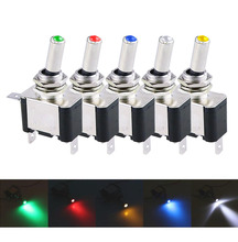1PCS DC 12V 20A Car Auto Cover LED   Blue Green Red White Yellow Light Toggle Switch Control On/Off Durable Light
