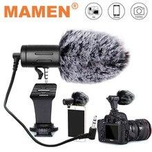 Mamen microfone para câmera com plugue de 3,5mm, condensador e gravador ultra-aberto para estúdio, para Canon Sony Nikon DSLR DV Vlog