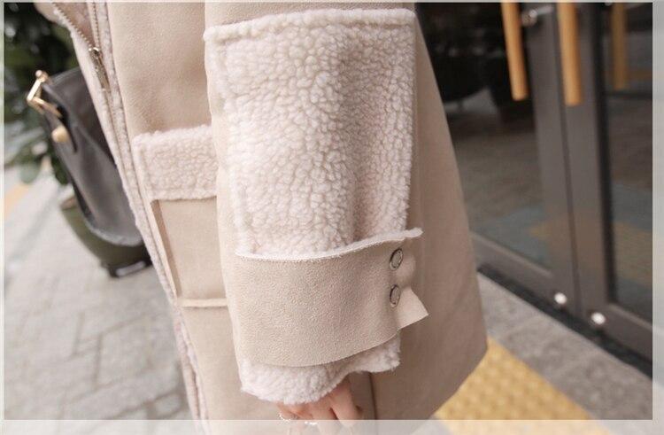 Купить зимняя длинная замшевая куртка из искусственной кожи для женщин