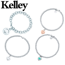 Kelley high quality original Tiff 925 sterling silver bracelet heart shape brand design ladies fashion luxury jewelry party gift