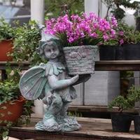 Große 55cm Sukkulente Blumentopf Schmetterling Fee Junge Mädchen Halten Blume Topf Pflanzer Garten Topf Handwerk Hause Desktop dekoration Garten Statuen & Skulpturen Heim und Garten -