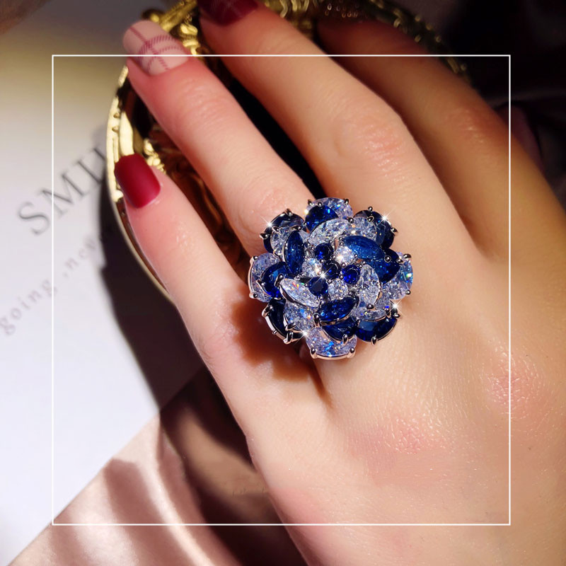925 Silver Rings For Women Cubic Zirconia Blue Flower Rotate Open Ring Adjustable Index Finger Ring VIntage Fine Jewelry