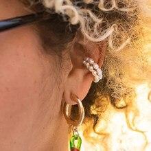 Damska perłowa nakładka na uszy kolczyk czeski naturalny słodkowodny okrąg mały klip na kolczyk bez przekłuwania uszu fałszywy kolczyk na chrząstkę
