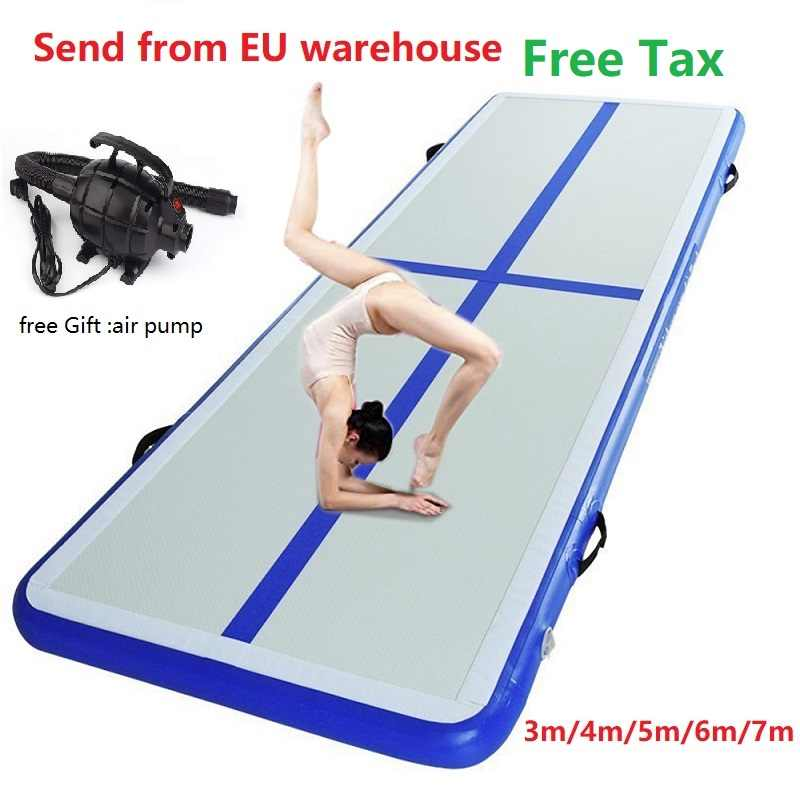 3-8M Air Track Gymnastics GYM Mat Floor Inflatable Airtrack Tumbling with Pump