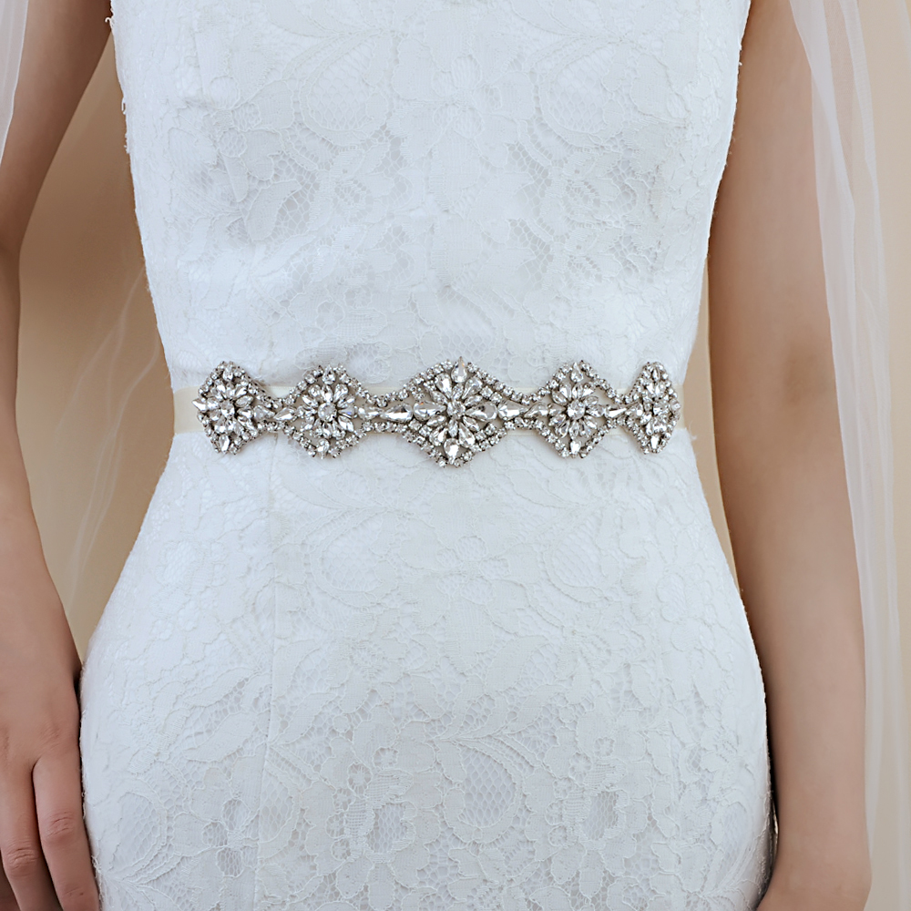 TRiXY S399 Rhinestones Crystal Bridal Belt Diamond Wedding Dress Belt Crystal Bridal Sashes Wedding Dress Accessories