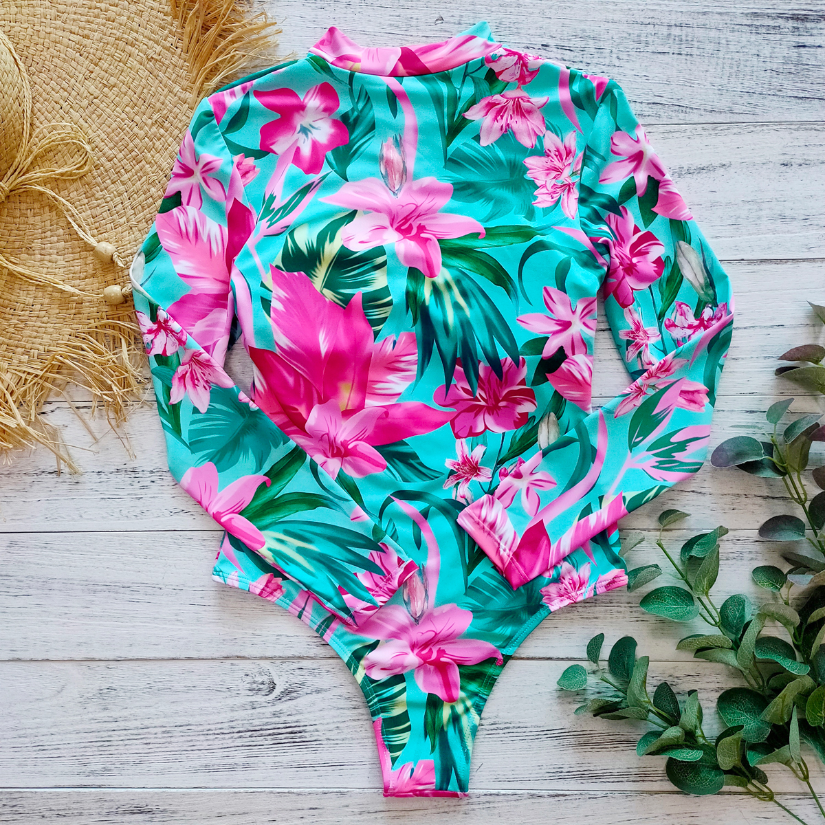 Цельный купальный костюм с принтом, одежда для плавания с длинным рукавом, женский купальный костюм, ретро купальник, винтажный цельный купальный костюм для серфинга
