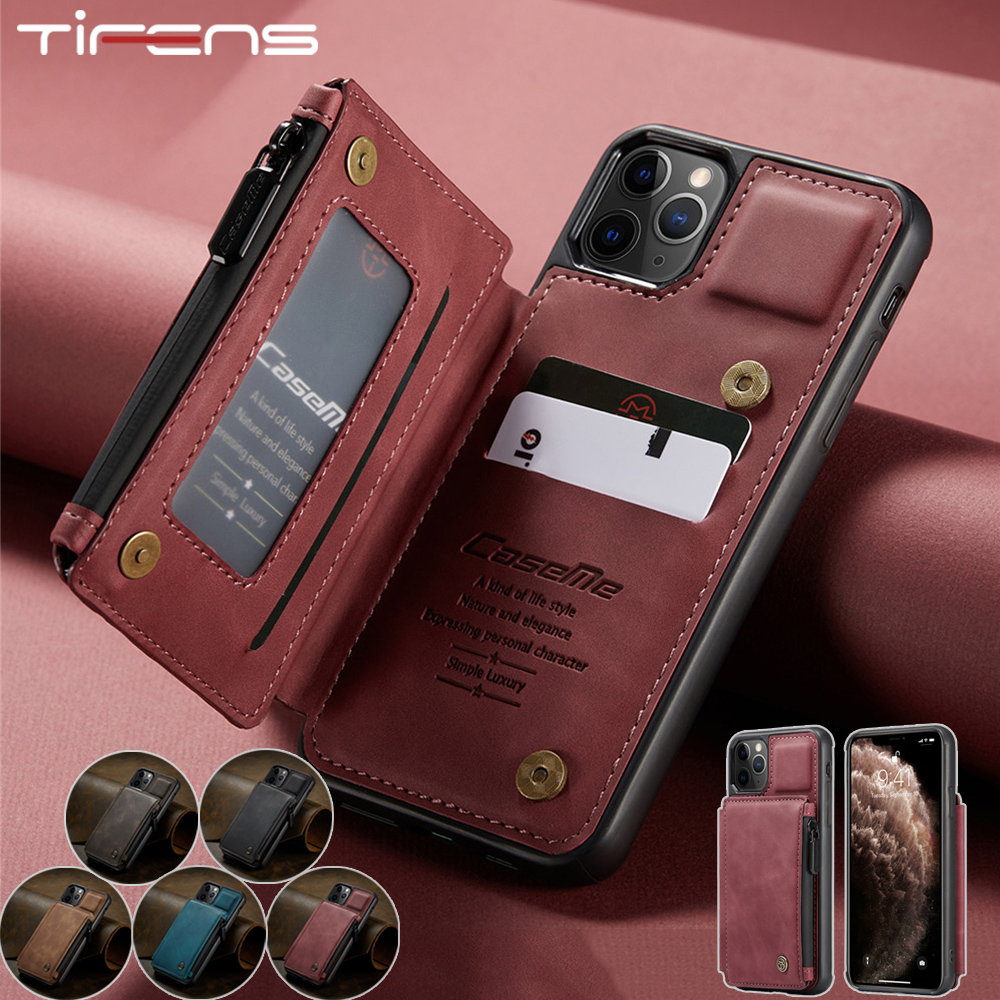 Luxury Zipper Wallet Leather Case For iPhone 12 Min 11 Pro XS Max XR X SE 2020 8 7 Plus Magnetic Card Slot Purse Phone Bag Cover