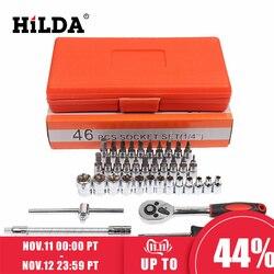 Hilda 46 pçs conjuntos de ferramentas de reparo do carro combinação conjunto chave chave de fenda conjunto cabeça lote catraca pawl soquete chave de fenda conjunto