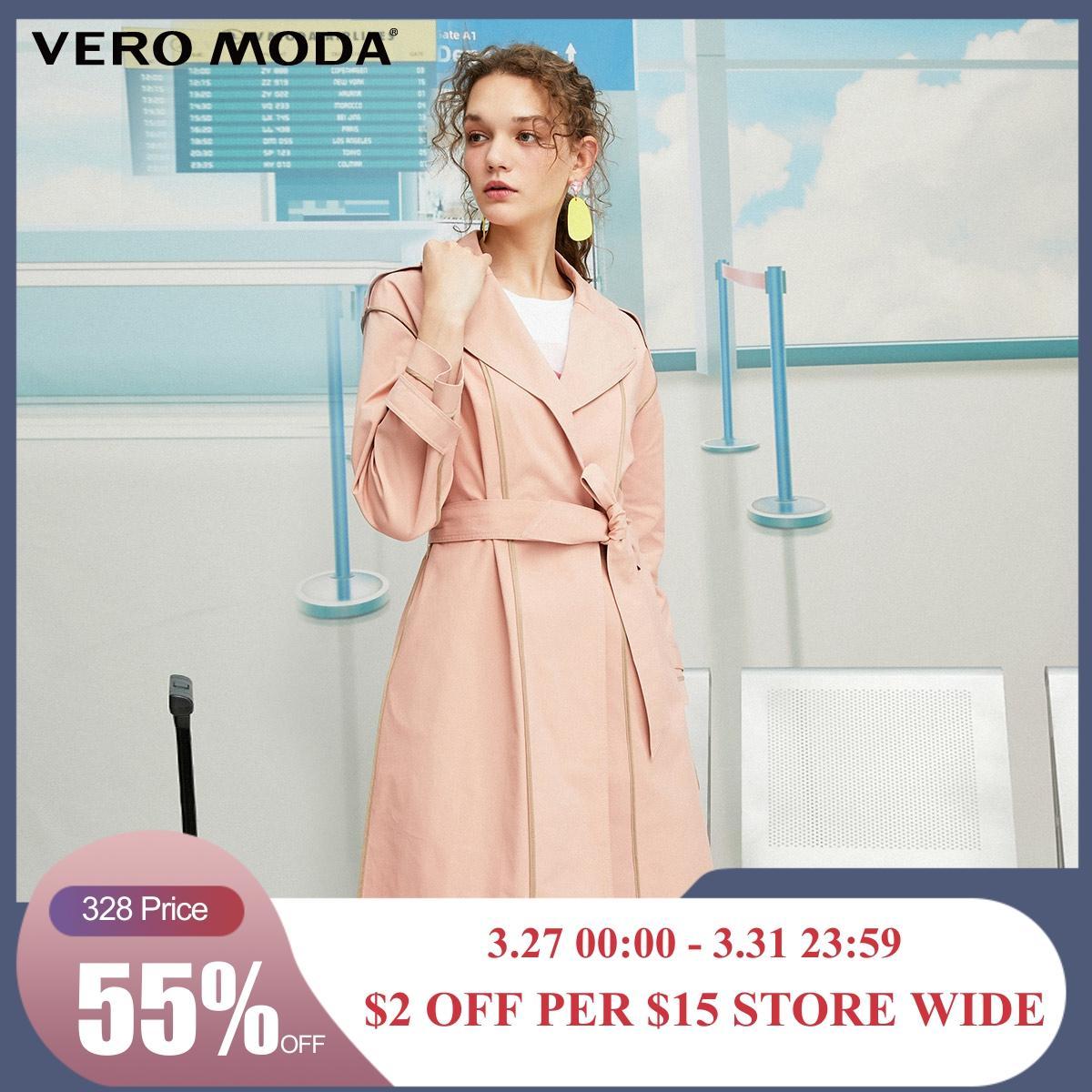 Vero Moda New Women's Slim Fit Splice Selvaged Trench Coat | 319321553