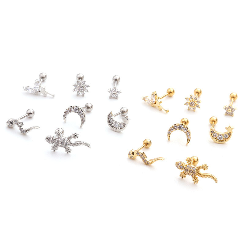 1Pc Stainless Steel Flower Heart Moon Star Piercing Cz Ear Studs Helix Piercing Rose Gold Cartilage Earring Tragus Conch Jewelry