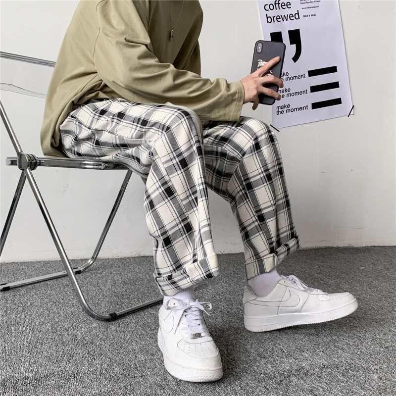 Весенний комплект в клетку штаны мужские спортивные штаны в стиле ретро; Повседневные свободные женские брюки для девочек в Корейском стил...