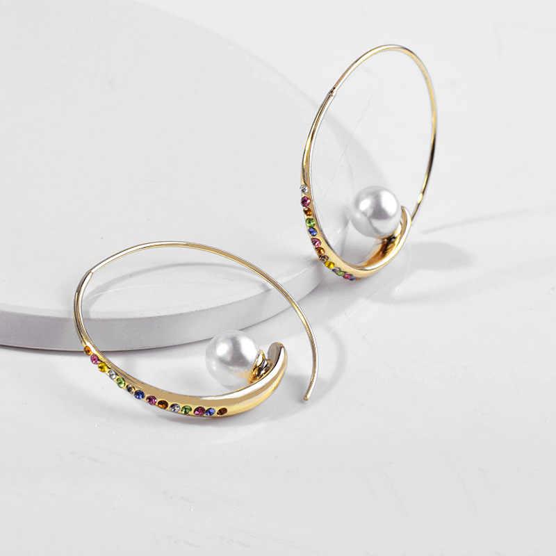 Rame tempestato di diamanti di zirconio anello creativo naturale boutique della perla orecchini con monili alla moda del partito e la danza regali