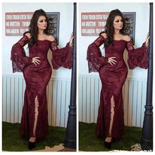 Burgundy Sexy Off Shoulder Lace Evening dress Wear 2020 Long Sleeves Mermaid Appliques Saudi Arabic Forma Prom Dress burgundy one shoulder bat sleeves knitted dress