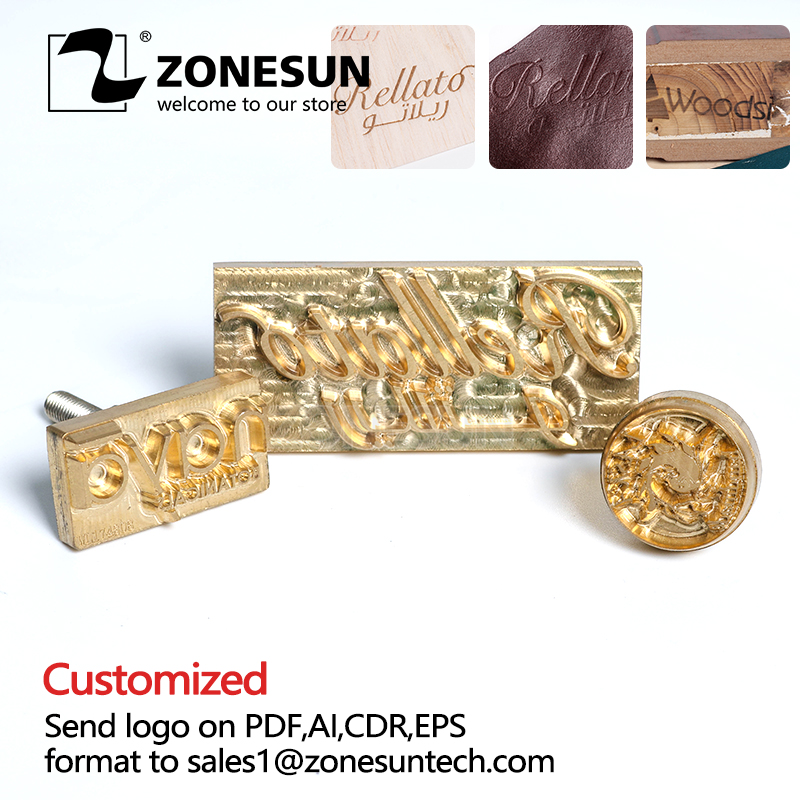 ZONESUN Custom Logo Brass Mold Leather Branding Iron Wood PU Copper Stamping Mold Plate For Machine Hot Foil Stamp