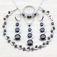 Incredibile 925 Sterling Silver Delle Donne 4PCS Set di Gioielli Zircone Nero Zircone Braccialetto/Orecchini/Pendente/Collana/ anello di Regalo Libero JS01