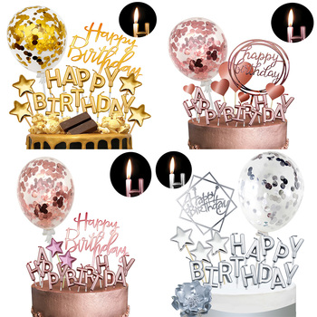 Rose gold candle cake topper rose gold confetti balloon birthday cake decoration girl women kids kids shiny happy birthday wreat candle birthday girl decoration birthday supplies cake candle cake decorating princess girl pumpkin car birthday candle
