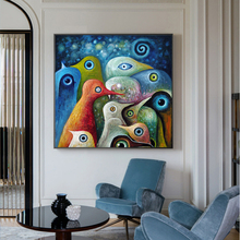 Modern Cartoon Birds Colorful Canvas Painting Wall Art Pictures For Living Room Abstract Animal Cuadros Decoration