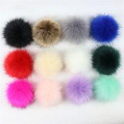 12 pçs 8cm pompom bola falso raposa furling diy fluff bolas para pom pom chapéus chaveiro cachecol pompons acessórios