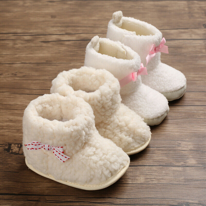 Baby Boots Newborn Baby Kid Girl Booties Soft Sole Snow Boots Winter Warm Fur Crib Shoes Toddler Girl Bowknot Prewalker Boots