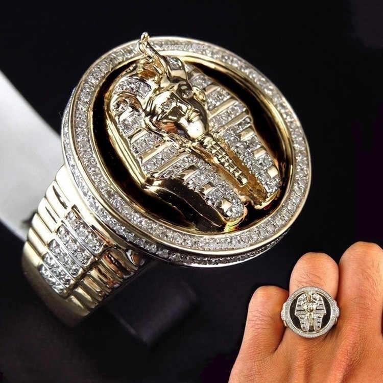 CHUHAN מגניב גברים של שני טון שחור אמייל טבעת מצרי מלך ענח 'אמון טבעת גברים מסיבת חתונת תכשיטים
