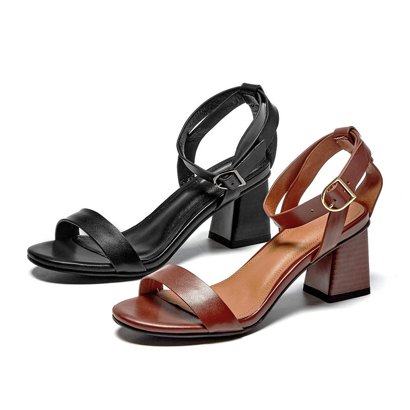 100% Real Leather Women Sandals Retro High Heels Summer Party Wedding Shoes Ankle Buckle Woman Sexy New Sandals