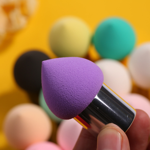 Heart Shaped Sponge Beauty Pen Puff Makeup Tool Wet And Dry Dual Purpose Aluminum Cover Cotton Puff with Handle Puff 2