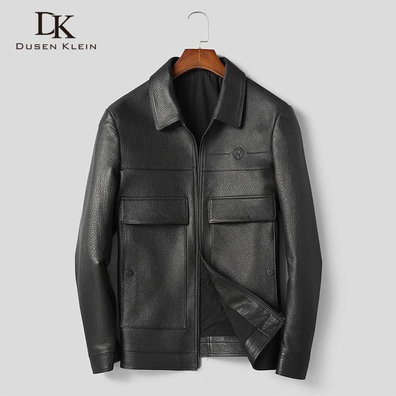 Men Genuine Leather Jacket Real Sheepskin Jackets Casual Short Black Pockets 2020 Autumn New Jacket For Man 9011