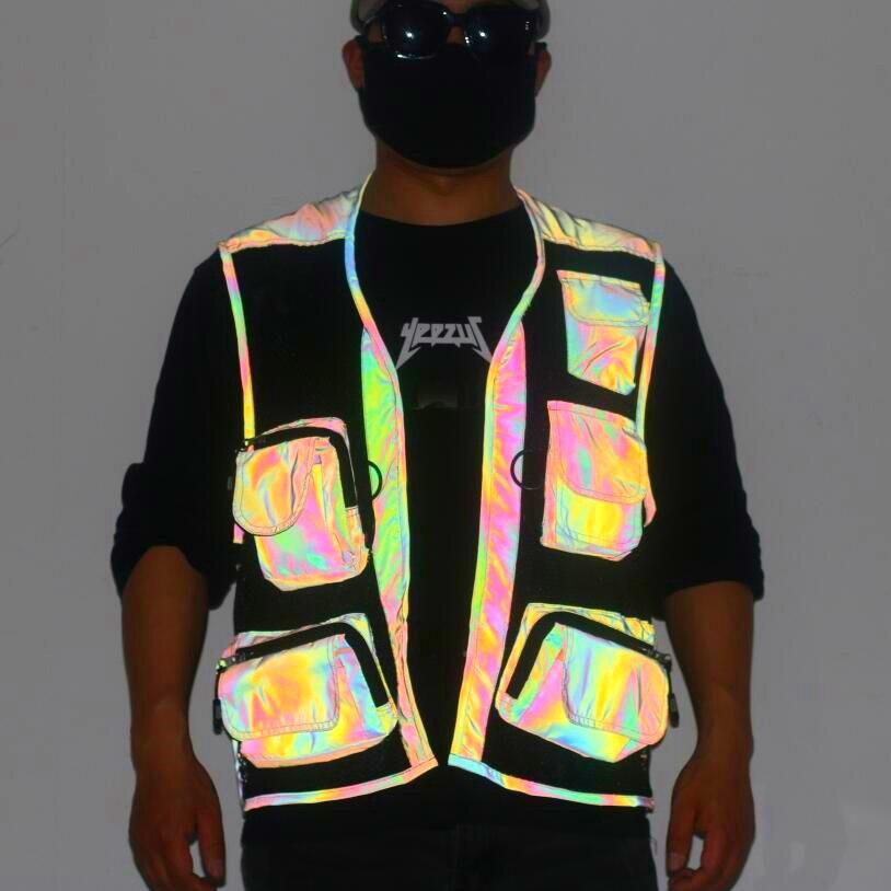 Reflective Vest Men Fluorescence Mens Muliti-pocket Cargo Fishing Vest Chalecos Para Hombre Cool Net Sleeveless Waistcoat Men