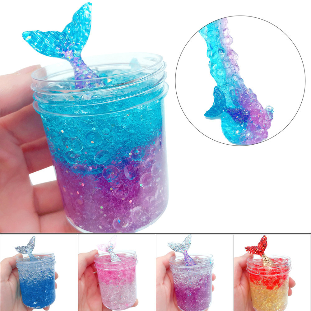 Clear Fluffy Glitter Slime Non Toxic and No Borax Stress Relief Toy