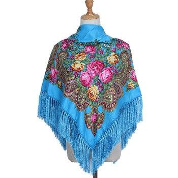 90*90cm Enthic Style Russian Women's Square Scarf Shawl Retro National Fringed Print Scarves Winter Ladies Head Wraps Hijab united arab emirates national flag 90 150cm 60 90cm 15 21cm for national day