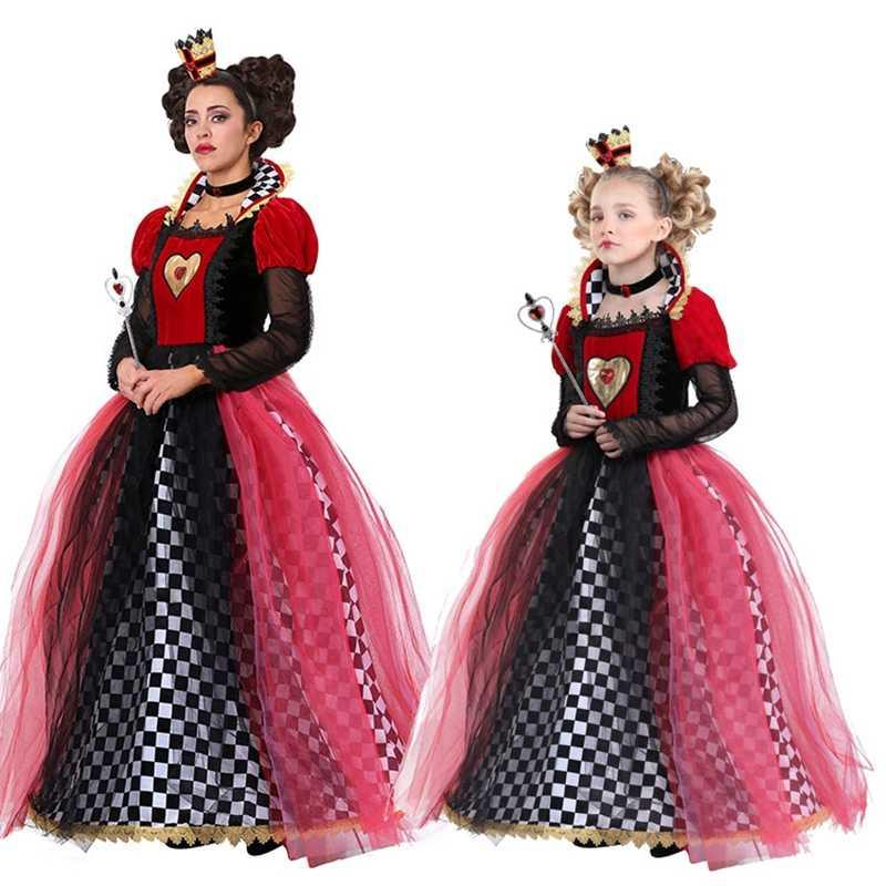 Girls Alice Wonderland Queen of Hearts Costume Kids Book Week Fancy Dress Outfit