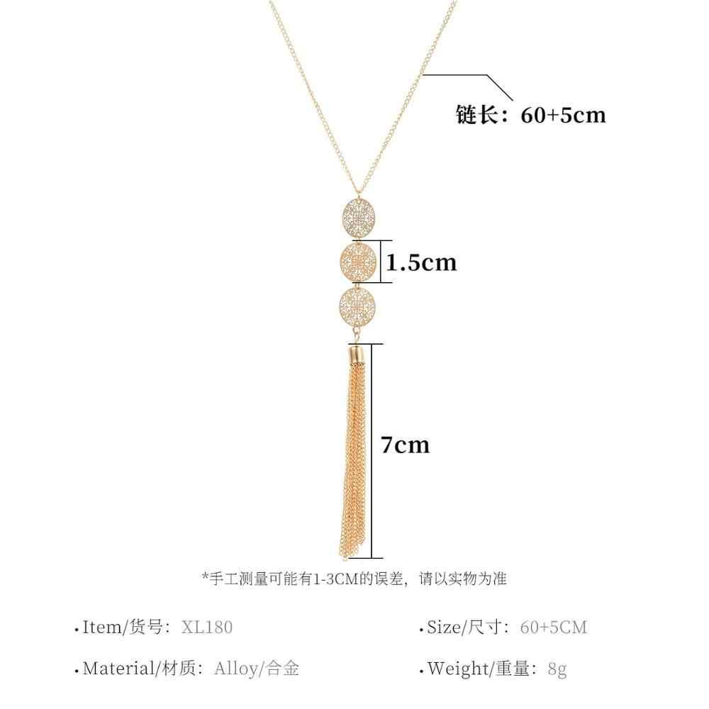 レトロ中空幾何ラウンドタッセルペンダントネックレスパーソナリティロングチェーン鎖骨ネックレス女性のためのネックジュエリー XL180