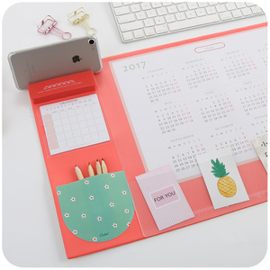 Image 4 - Candy Color Kawaii Multifunctional Pen Holders Writing Pad 2018 2020 Calendar Mat Learning Pad Office Mat Desk Decor Accessories