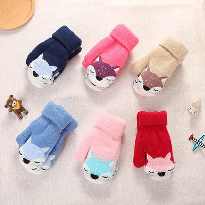 New 0-3 Y Cute Cartoon Fox Baby Gloves Winter Wool Plus Thick Full Rope Finger Mittens Warm Knitted Gloves for Kids Boys Girls