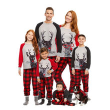 Christmas Family Pajamas Christmas Clothes Elk Print T-shirt Grid Pants Suit Matching Dad Mom and Me Home Wear Family Outfits(China)