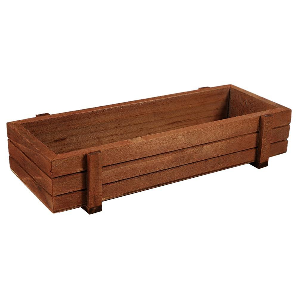 Flower-Pot Decorative Planter Crates Wooden-Boxes Gardening-Device Succulent Table Rectangle title=
