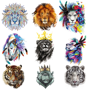 Thermal Stickers On Clothes Lion Animals Patches DIY Iron On Patches For Clothing Heat Transfer Crown Animals T-Shirt Stickers