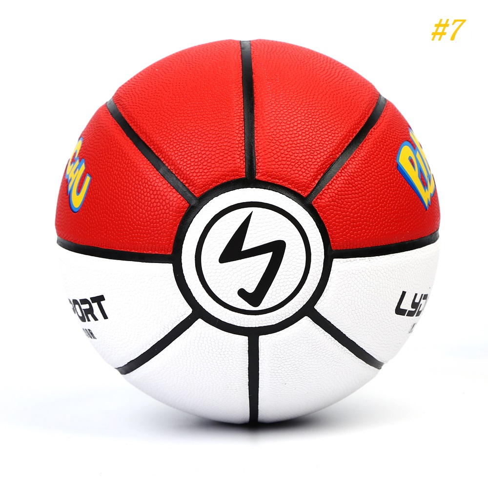 Size 7 Pokemon Street Basketball Pikachu Kids Pokebol Ball Soft Leather PU Basket Ball Indoor Basquete Toys Gift For Boys Girls
