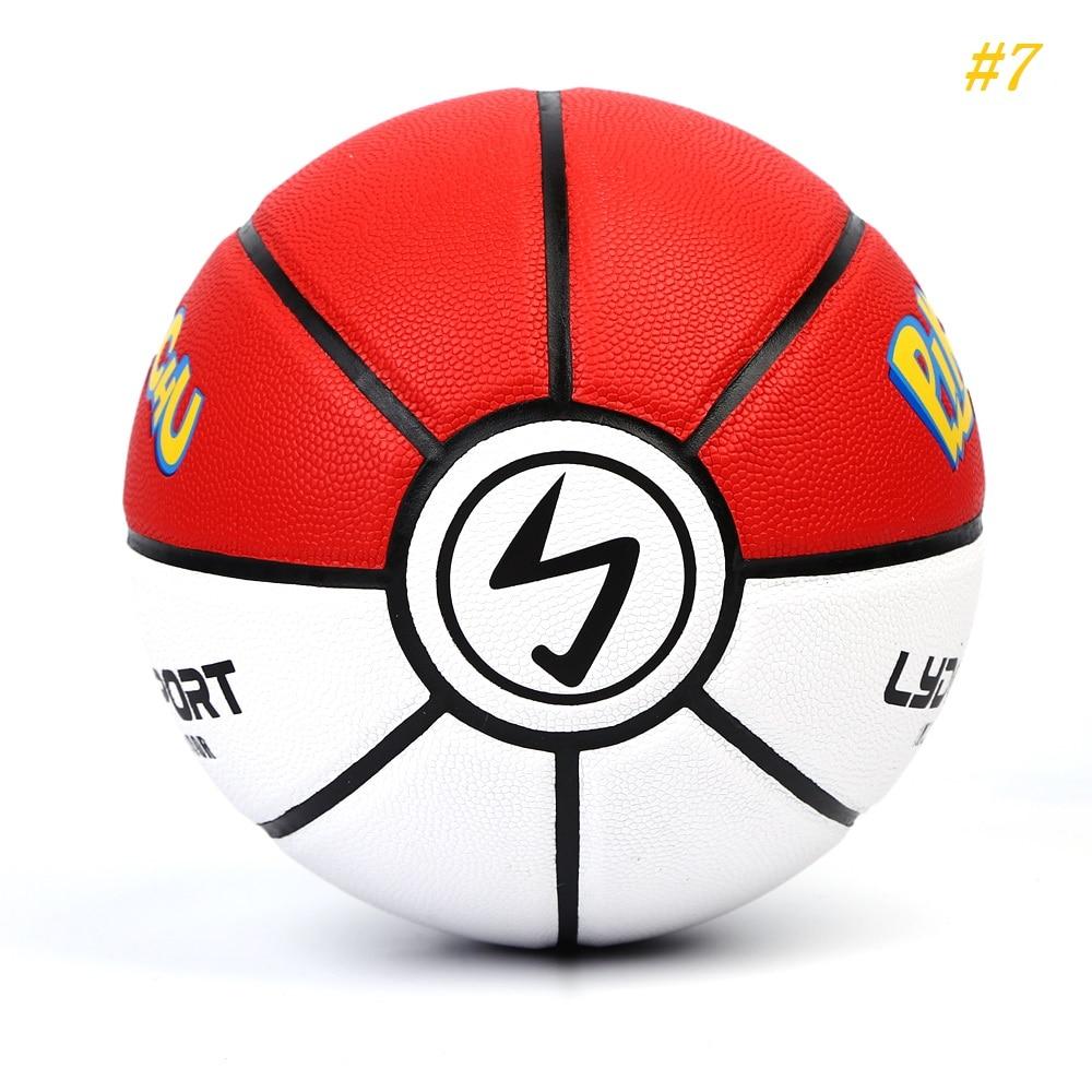 Size 7 Pokemon Street Basketball Pikachu Kids Pokebol Ball Soft Leather PU Basket Ball Indoor Basquete Toys Gift for Boys Girls