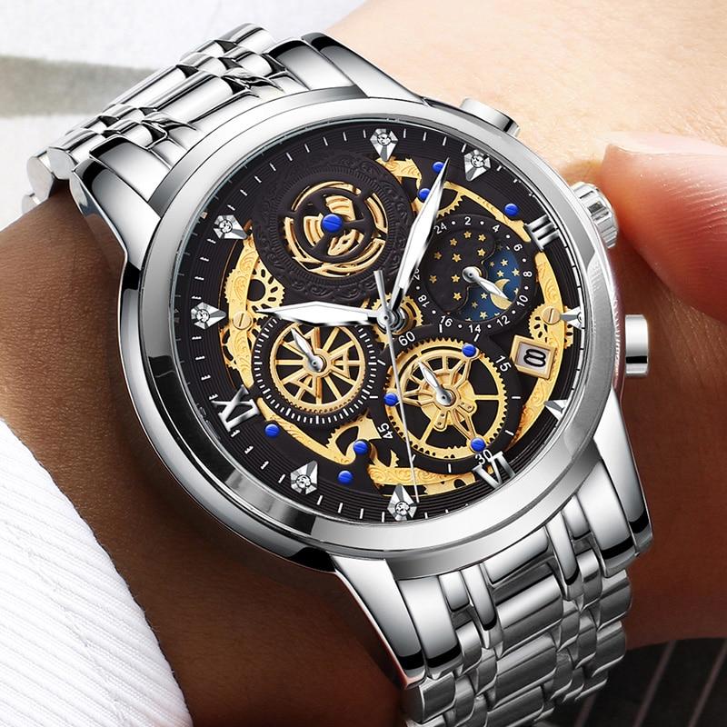 2021 New Fashion Men's Watch Stainless Steel Top Brand Luxury Waterproof  Sports Chronograph Quartz  Men's Relogio Masculino 6