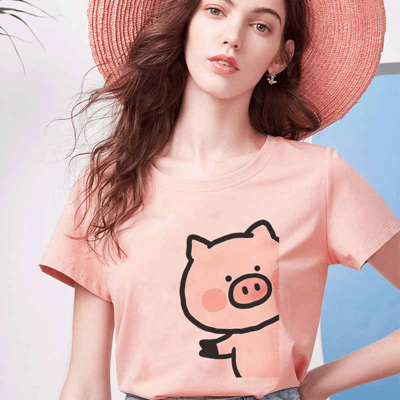 Summer Harajuku Aesthetic Short Sleeve Femme Tops Kawaii Pink Pig Printing Pattern Cute Tshirt Vogue Vintage Funny Women Clothes