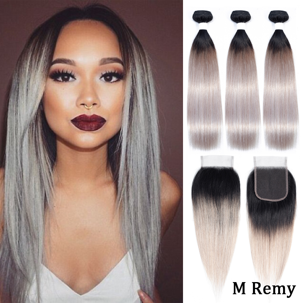 Amanda T1b/silver Grey Brazilian Straight Hair 3 Bundles With Lace Closure Free Part Remy Human Hair Bundles With 4x4 Closure