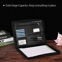 Portefeuille multifonctionnel A4, organisateur de fichiers professionnel avec fermeture éclair, pochette pour cartes en écriture pour les hommes daffaires