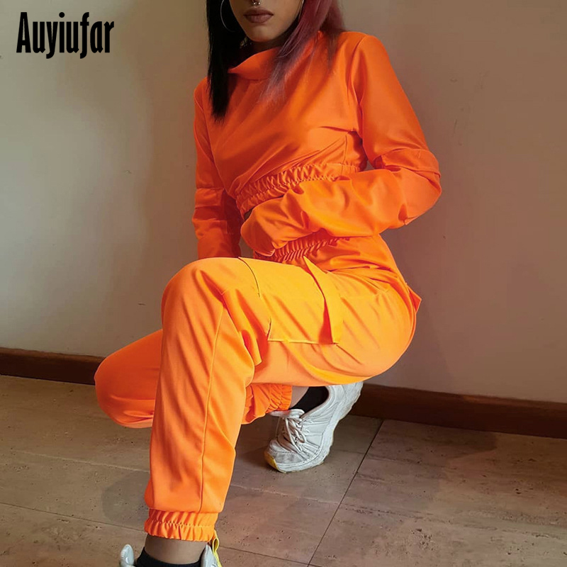Auyiufar Solid Turtleneck Women 2 Piece Set Casual Long Sleeve Crop Top And Long Pants Set 2019 Fashion Streetwear Matching Set in Women 39 s Sets from Women 39 s Clothing