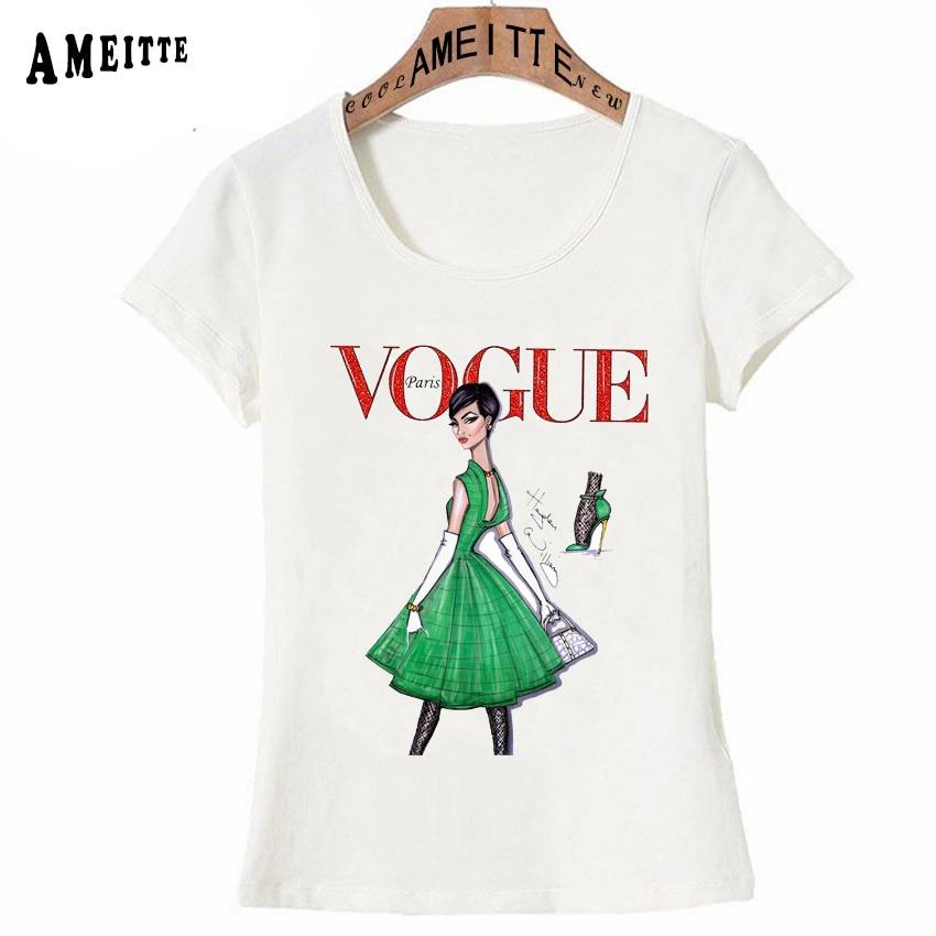 Vintage Vogue Paris Black printing Girl Shirt Summer Fashion T Shirt novelty casual Tops 10