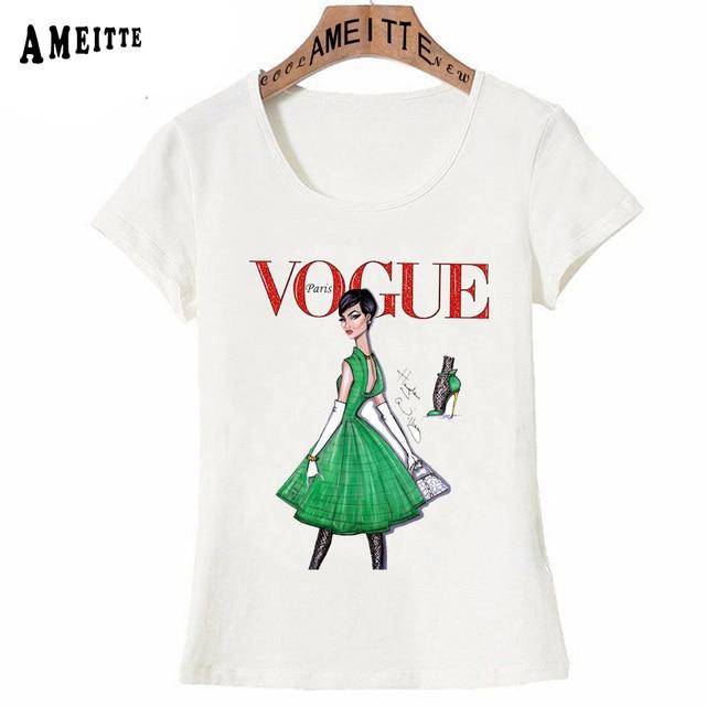 Vintage Vogue Paris Black printing Girl Shirt Summer Fashion T Shirt novelty casual Tops 29