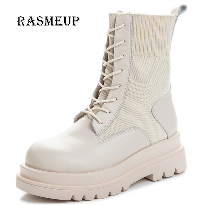 RASMEUP Genuine leather Platform Boots New Autumn Women Light Comfortable Chunky Boots Fashion Lace up Lady Shoes Footwear