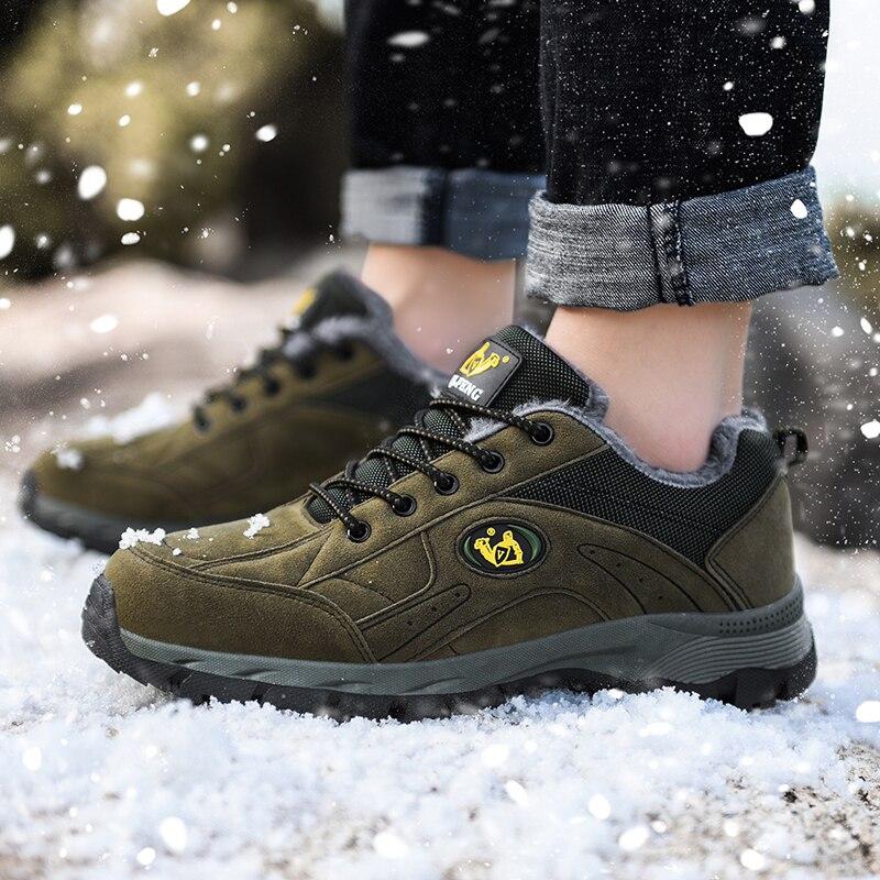 Boots Men Shoes With Warm Fur Winter Snow Boots Men Outdoor Hiking Ankle Boots Shoes Men Plush Botas Hombre Tobillo Big Size 49